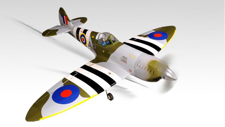 Радиоуправляемый самолёт SPITFIRE, двс/электро, ARF, 1395мм